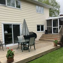 view of beautiful deck after painting
